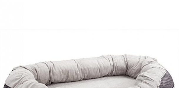 BarksBar Large Gray Orthopedic Dog Bed – 40 x 30 inches – Snuggly Sleeper with Nonslip Orthopedic Foam