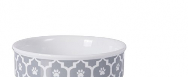 DII Bone Dry Lattice Ceramic Medium Pet Bowl For Food & Water, 6″ Dia x 2″H Set of 2, With Non-Skid Silicone Rim for Dogs and Cats-Gray