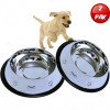 Set of 2 Etched Food Grade Stainless Steel Dog Bowls, 32oz Dry Weight, Dishwasher Safe, Bacteria & Rust Resistant, with Non-Skid No-Tip Natural Rubber Base, Odor Free Alternative to Plastic