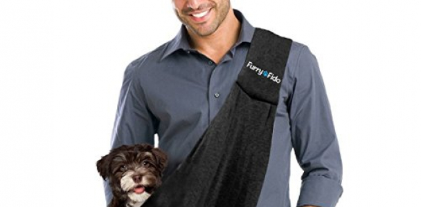 FurryFido Reversible Pet Sling Carrier for Cats Dogs up to 13  lbs, Black