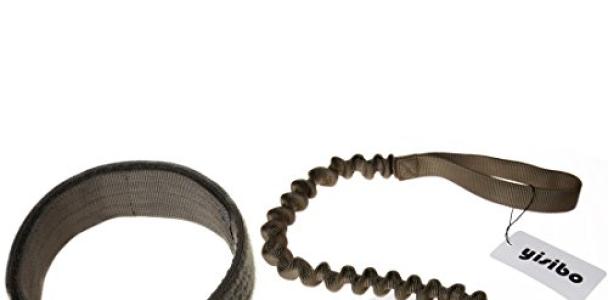 Yisibo Tactical Harness Dog Collar K9 Adjustable Nylon ID Dog Collar With Metal Buckle/V-ring   Training Stretchable Bungee Dog Leash (adjustable 16″-23″, Ranger Green Collar Leash)
