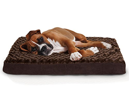 Furhaven Orthopedic Mattress Pet Bed, Large, Chocolate, for Dogs and Cats