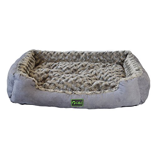 Mango Spot Faux Suede Dogs Sofa Fluffy, Washable Rectangular Cuddler Pet Bed with Removable Pillow, 28.3Lx21.2Wx4.3H Inch, Gray