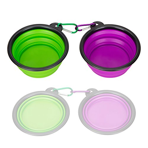Collapsible Silicone Pet Bowl,set of 2, IDEGG, Food Grade Silicone BPA Free, Foldable Expandable Cup Dish for Pet Dog/Cat Food Water Feeding Portable Travel Bowl (Set of 2, Purple Green)