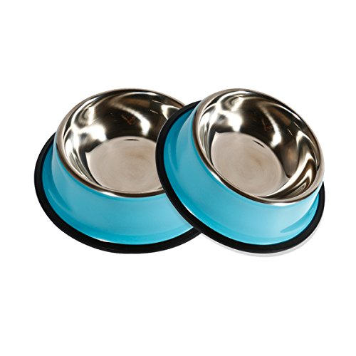 PetCee Small Dog Food Bowl Stainless Steel Dog Bowl with Anti-slip Rubber Base for Pet Food and Water (10 OZ,Set of 2,)