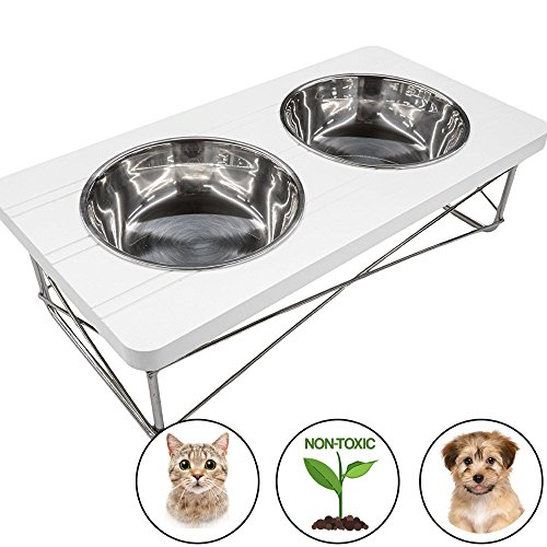 Easyology Stainless Steel Elevated Feeder Bowls for Cats and Small Dogs, White