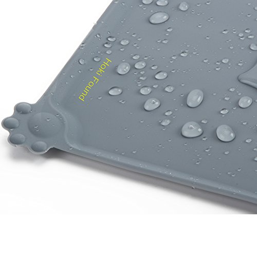 Hoki Found Silicone Pet Food Mat Tray- Pet Bowl Mat - FDA Grade Dog Feeding Mat - Dog Cat Food Mat - Pet Feeding Mat - Waterproof Pet Mats - Non slip Dog Bowl Water Mat Placemat, 18.6
