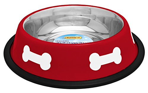 westminster pet products 19216 16 OZ, Red With White Bones, Stainless Steel Fashion Bowl