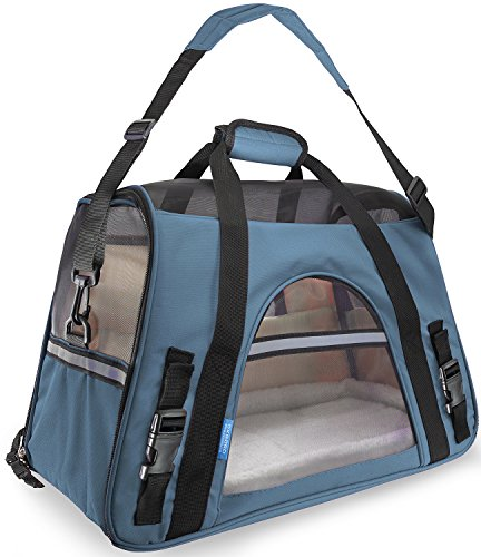 OxGord Airline Approved Pet Carriers w/ Fleece Bed For Dog & Cat - Medium, Soft Sided Kennel - 2016 Newly Designed Model, Mineral Blue