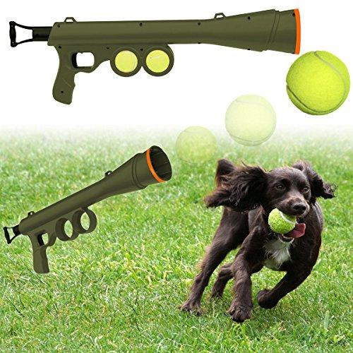 OxGord BazooK-9 Tennis Ball Launcher Gun with 2 Squeaky Balls