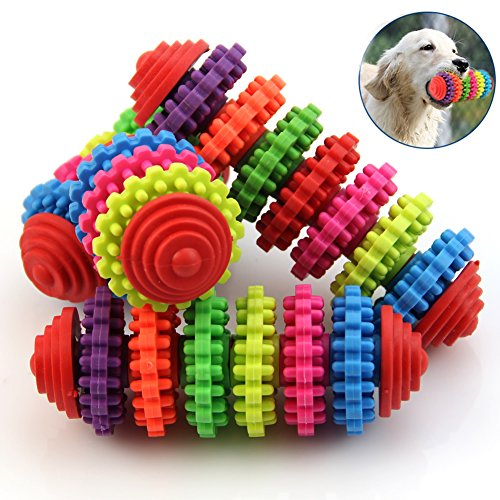NNDA CO puppy toys,1PC Colorful Rubber Pet Dog Puppy Dental Teething Healthy Teeth Gums Chew Toy Tools,Rubber,1 Pc(13.5cmx4cm)