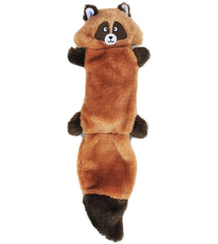 ZippyPaws Zingy 3-Squeaker No Stuffing Plush Dog Toy, Raccoon