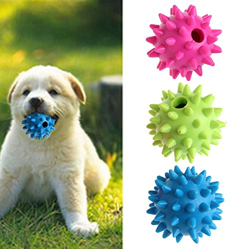 NNDA CO dog toys,1PC Pet Dog Puppy Sound Chew Squeaker Rubber Ball For Fun Teeth Cleaning Toy