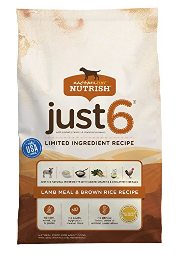 Rachael Ray Nutrish Just 6 Natural Dry Dog Food, Limited Ingredient, Lamb Meal & Brown Rice Recipe, 28 lbs