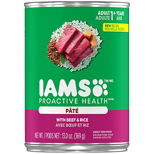 IAMS PROACTIVE HEALTH Adult With Beef and Rice Pate Wet Dog Food 13.0 Ounces (Pack of 12)