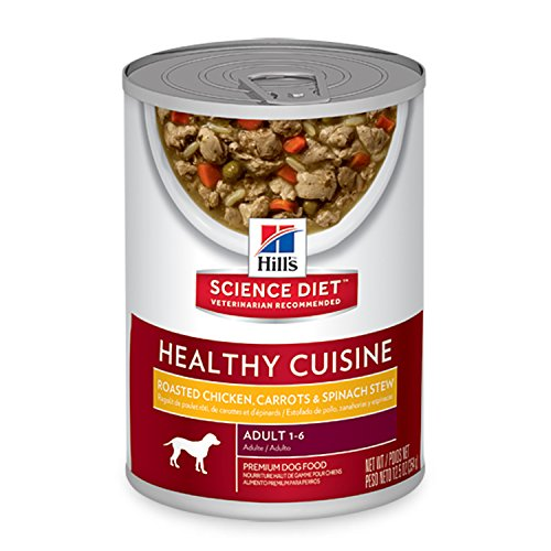 Hill's Science Diet Adult Healthy Cuisine Roasted Chicken Carrots & Spinach Stew Canned Dog Food, 12.5 oz, 12-pack