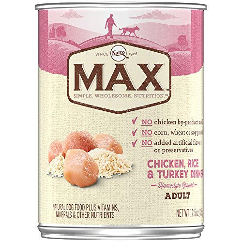 NUTRO MAX Adult Chicken, Rice, and Turkey Dinner Canned Dog Food 12.5 Ounces (Pack of 12)
