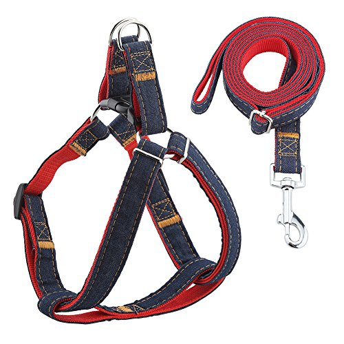 URPOWER Dog Leash Harness Adjustable & Durable Leash Set & Heavy Duty Denim Dog Leash Collar for Small, Medium and Large Dog, Perfect for Daily Training Walking Running (L(17
