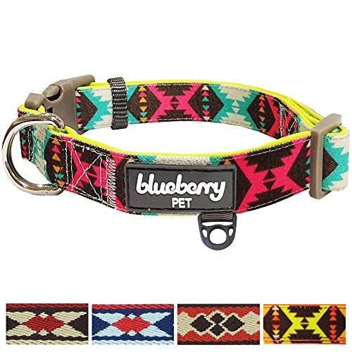 Blueberry Pet 5 Colors Soft & Comfy Vintage Tribal Pattern Padded Dog Collar, Extravagant Green, Medium, Neck 14.5