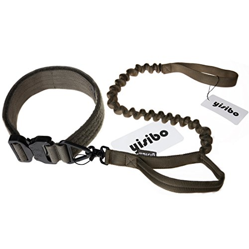 Yisibo Tactical Harness Dog Collar K9 Adjustable Nylon ID Dog Collar With Metal Buckle/V-ring   Training Stretchable Bungee Dog Leash (adjustable 16