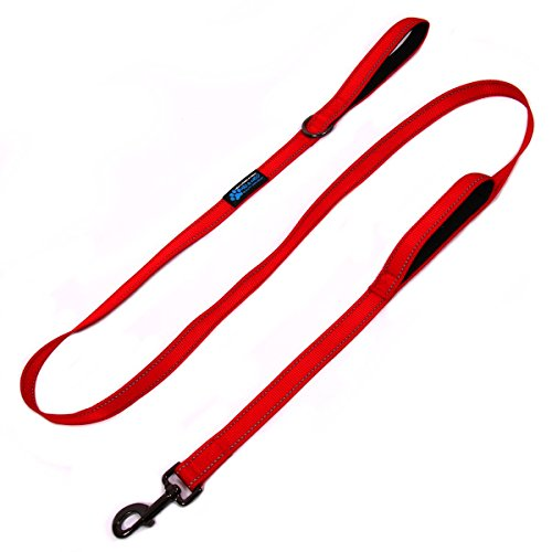 Max and Neo� Double Handle Traffic Dog Leash Reflective - We Donate a Leash to a Dog Rescue for Every Leash Sold (RED)