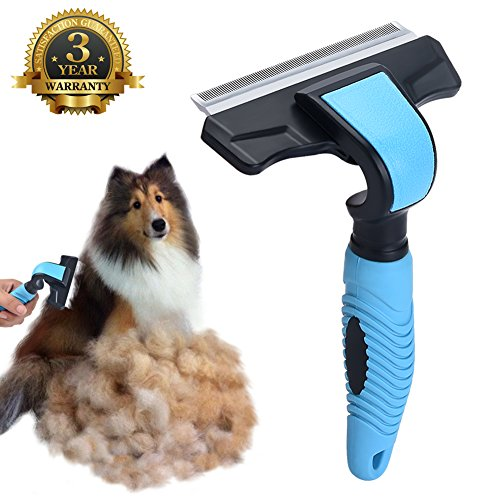 Pet Deshedding Brush Deshedding Tool Grooming Brush Comb Effectively Reduces Shedding By Up To 95% for Small Medium Large Dogs Cats with 4 Inches Wide Stainless Steel Safety Blade Blue