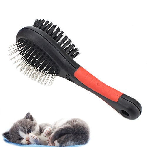 Fast and Good Professional Double Sided Pin & Bristle Combo Brush for Dogs & Cats, Grooming Comb for Cleaning Shedding & Dirt Short Medium or Long Hair   Durable Slider Storage Bag