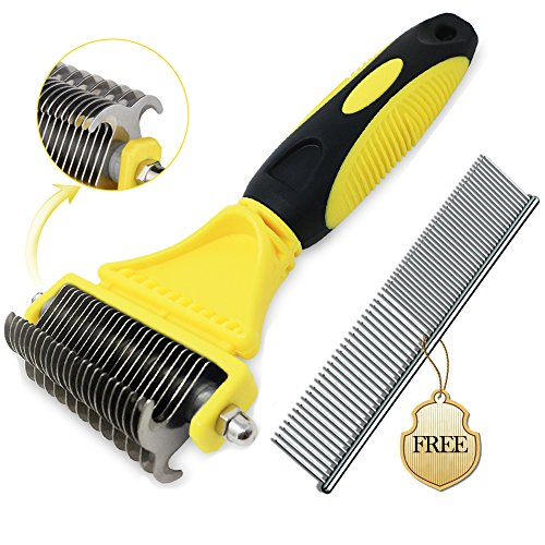 Bascolor Dog Grooming Brush Stainless Steel Comb for Cats Dogs 2 Sided Professional Pet Dematting Comb Undercoat Rake Removes Mats Tangles Knots