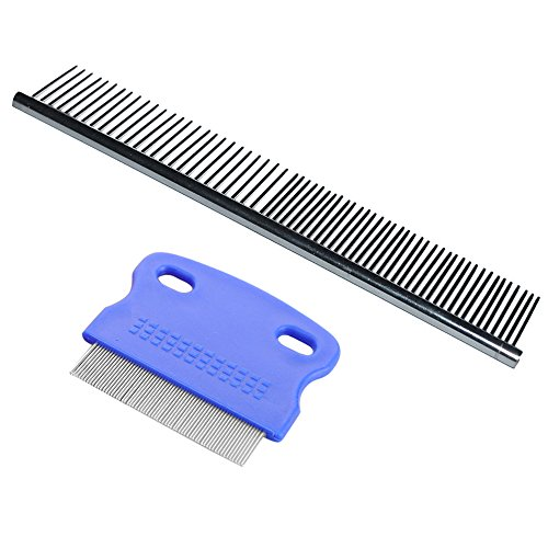 Dog Grooming Comb Dog Shedding Brush Tear Stain Remover Combs for Dogs & Cats with Short to Long Hair, Steel Comb Gently and Effectively Removes Tangles, Crust, Mucus and Stains from Your Pets